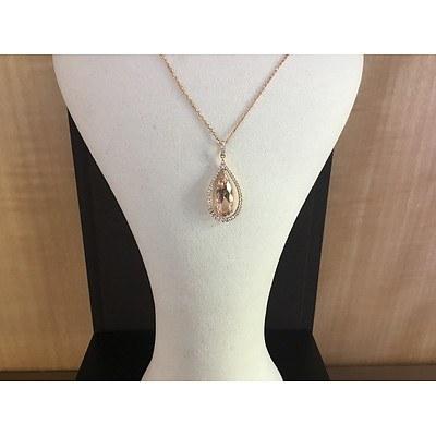 Morganite and Diamond Pendant and Chain