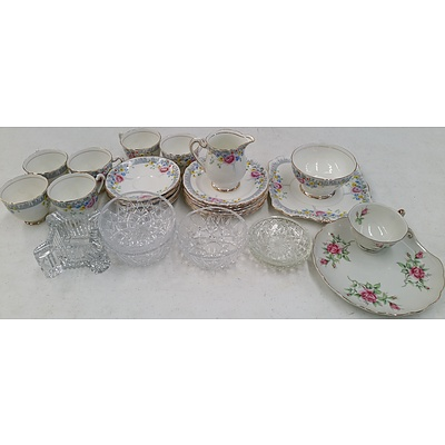 Six Piece Tea Setting and Selection of Glassware