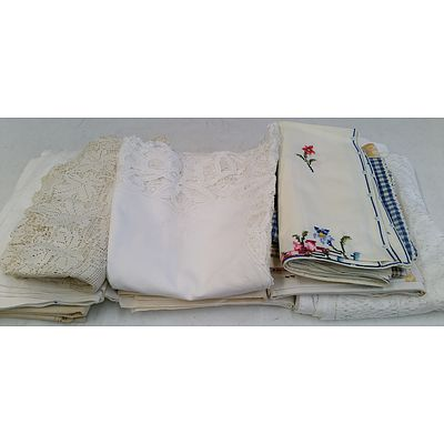 Lace, Line and Cotton Table Cloths - Lot of 12