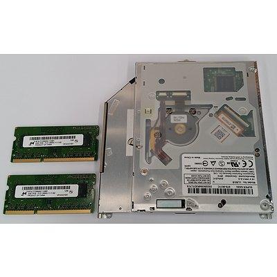 Panasonic DVD RW Drive and Two Micron 2GB RAM Notebook Modules
