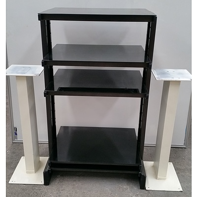 Audio Visual Rack and Two Speaker Stands