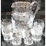 Seven Piece Etched Glass Drinkware Set