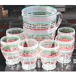 Seven Piece Painted Glass Drinkware Set