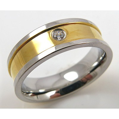 Titanium Ring with 18ct Gold Plating