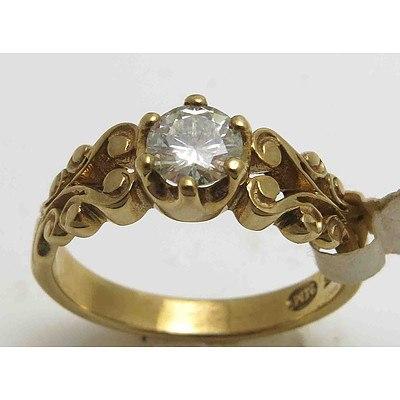 9ct Gold Round Brilliant-cut Moissanite Ring