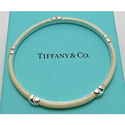 Tiffany White Enamel Sterling Silver Bangle