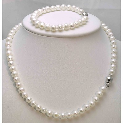 Cultured Pearl Necklace & Bracelet Set