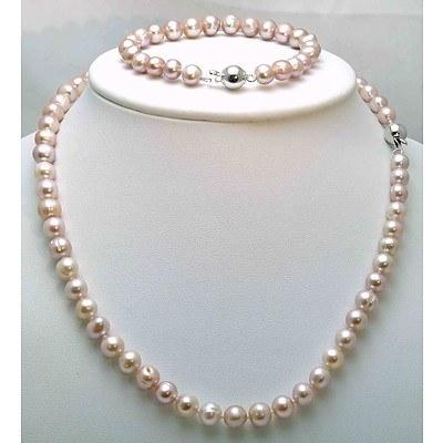 Cultured Pearl Necklace & Bracelet Set