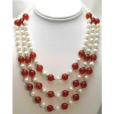 Pearl & Carnelian Triple strand Necklace