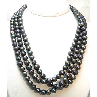 Extra Long Black Cultured Pearl Necklace