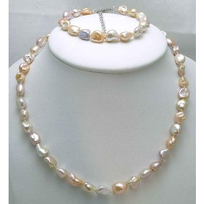 Keshi Pearl Set of Necklace & Bracelet