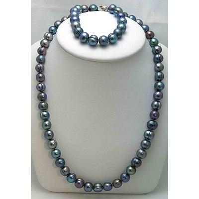 Black Cultured Pearl Necklace & Bracelet Set