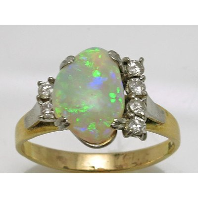 18ct Gold Australian Opal & Diamond Ring