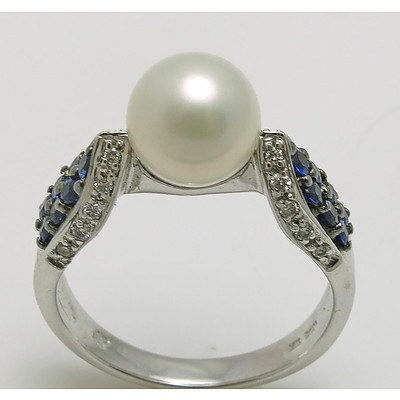 14ct White Gold Ring - Pearl, Sapphires, Diamonds