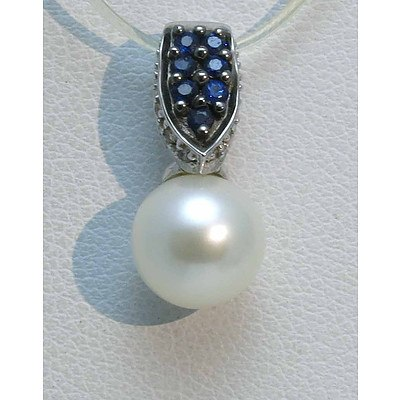 14ct White Gold Pendant - Pearl, Sapphires, Diamonds