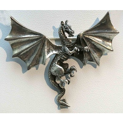 Pewter Dragon Brooch