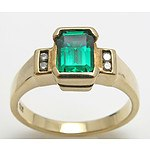 9ct Gold Synthetic Emerald & Diamond Ring