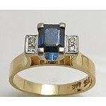 18ct Gold Natural Sapphire & Diamond Ring