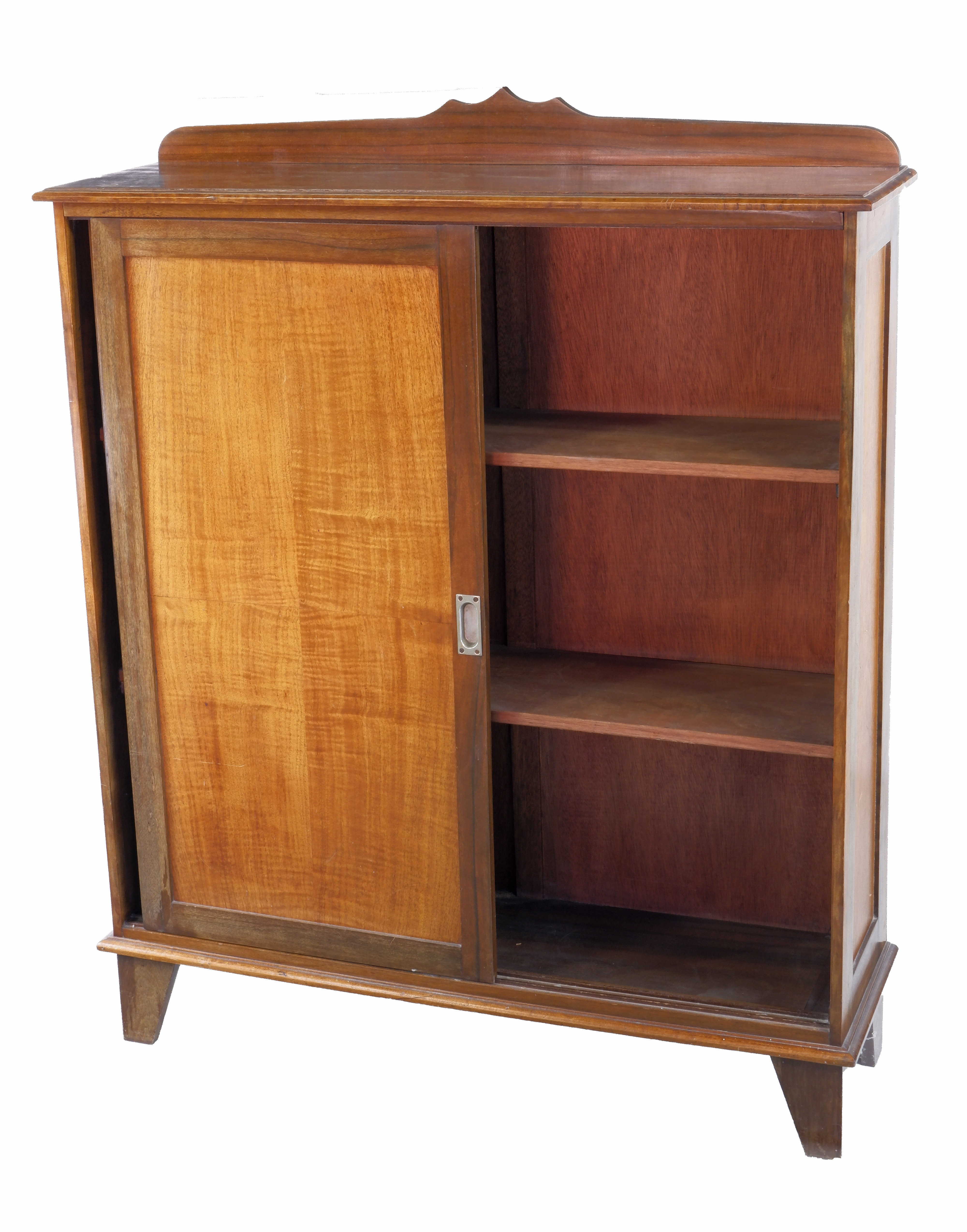 Queensland Maple And Black Walnut Bookcase With Sliding Doors Circa 1940s