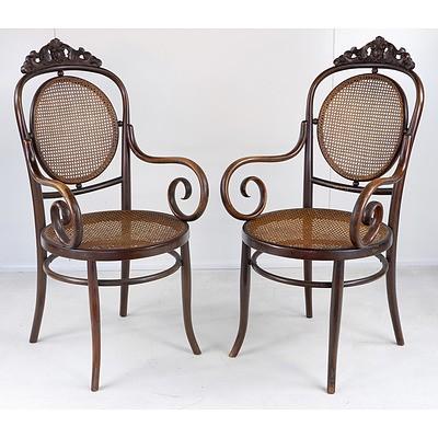 Pair of Fischel European Bentwood Armchairs Circa 1900