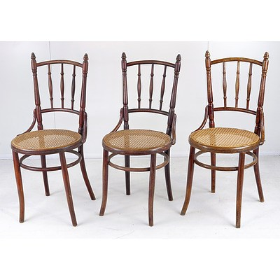 Three Fischel European Bentwood Chairs Circa 1900