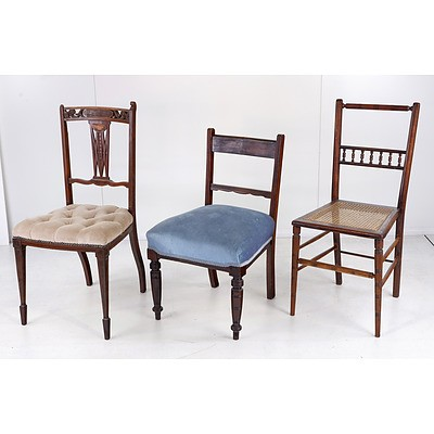 Three Various Antique and Vintage Side Chairs