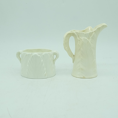 English Royal Worcester Cabbage Leaf Pattern Creamer Jug and Suger Bowl