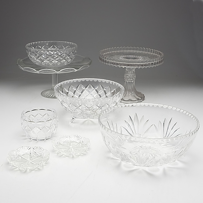 Large Group of Mouldered Glass and Cut Crystal Table and Serving Ware