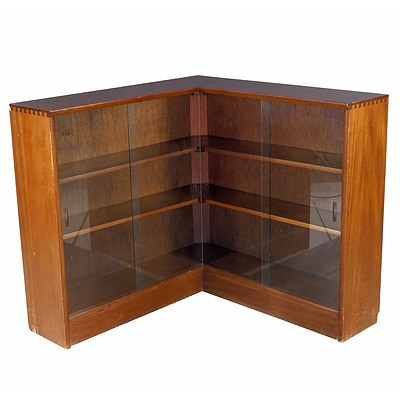 Vintage Maple Corner Bookcase with Exposed Dovetail Joinery and Sliding Glass Doors