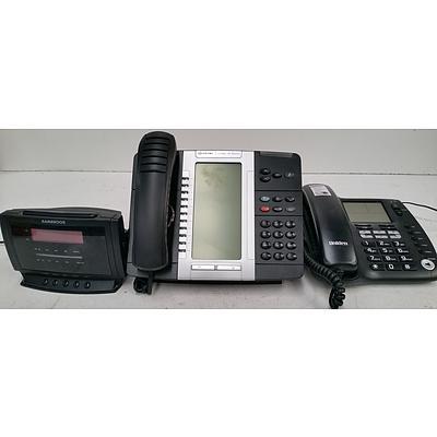 Uniden and Mitel Phones + Clock Radio
