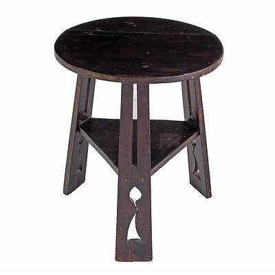 Arts and Crafts Walnut Stained Tabouret with Pierced Supports, Early 20th Century