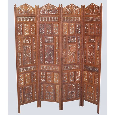 Indian Carved and Pierced Sandalwood Fourfold Screen