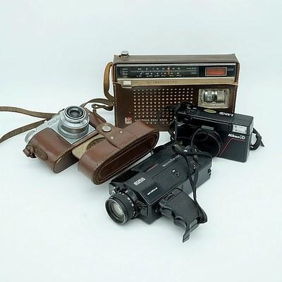National Panasonic Radio, Eumig Mini 3 Video Camera, Cloter Junior Camera and a Nikon L35AD Camera