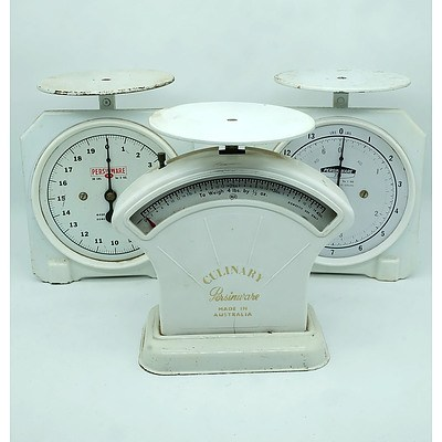 Group of Three Vintage Persinware Kitchen Scales