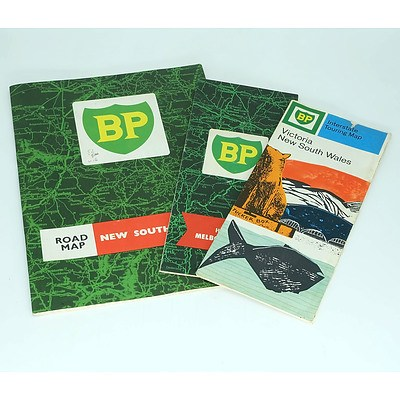 Three Vintage BP Roadmaps Including Victoria and NSW