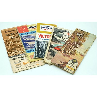 Group of Vintage Roadmaps Including Shell and Mobile