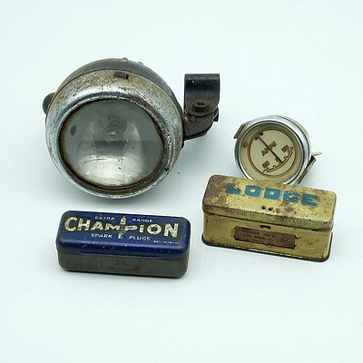 Remo Light, Amps Gauge and a Boxed Lodge and Champion Spark Plug