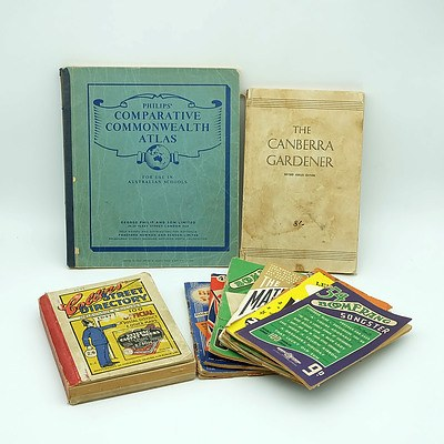 The Canberra Garderner 1951, The Collins Streets Directory 1947 and a Group of Vintage Songster Booklets