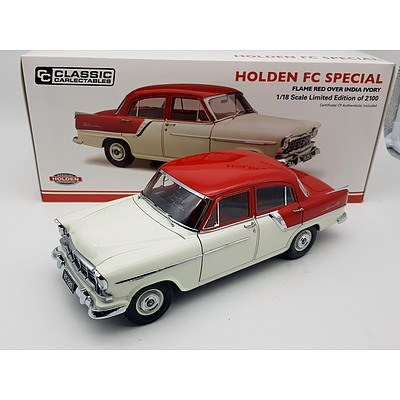 Classic Carlectables Holden FC Special Flame Red Over India Ivory Limited Edition 361/3600 1:18 Scale Model Car