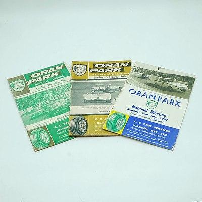 Three 1960s Oran Park Programme Booklets