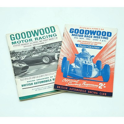 Two Goodwood Programme Booklets, 1952 and 1961