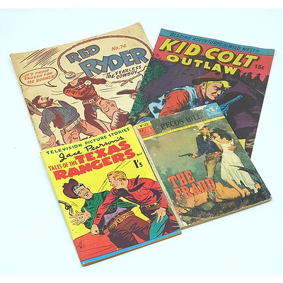 Four Vintage Comics Including Texas Ranger, Red Ryder, Kid Colt Outlaw and More