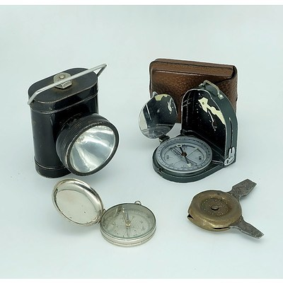 Vintage Everready Lantern, Two Compasses and a Wolselft Hand Tool