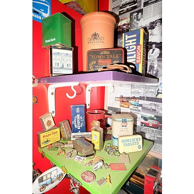 Two Shelves of Various Tins, Advertising Boxes, Badges and More