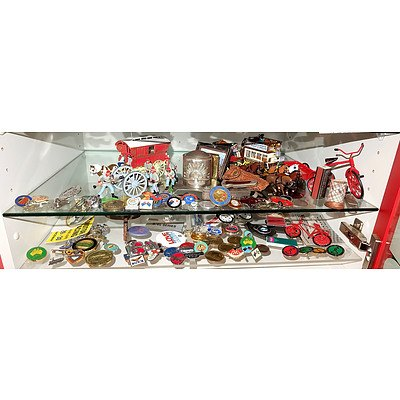 Two Shelf Lots Including English Lead Soldiers, Spur, Car Stickers and More