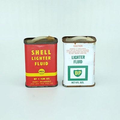 BP Light Fluid Tin and another Shell Light Fluid Tin