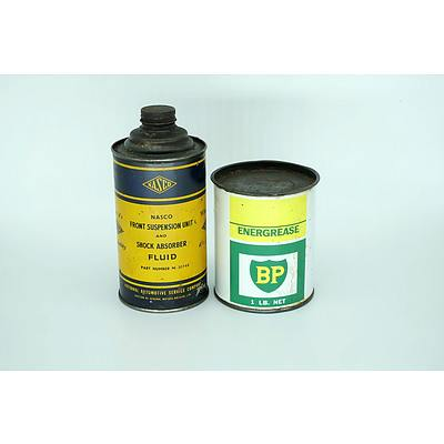 Nasco Front Suspension Fluid Tin and a BP Energrease Tin