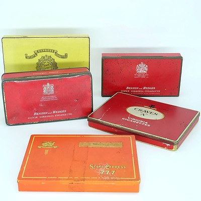 Five Vintage Cigarette Tins Including Craven, Benson and Hedges and State Express