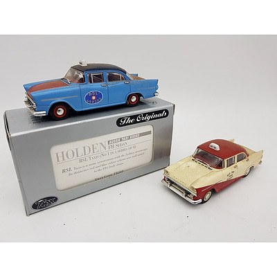 "TRAX ""The Originals"" Holden FB Sedan Taxi's 1:43 Scale - Lot of 2"