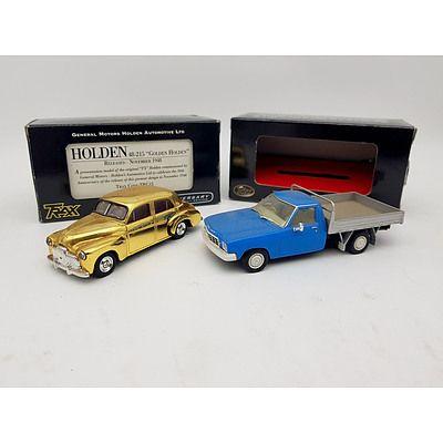 "TRAX ""The Originals"" Holden 48-215 Golden Sedan & Holden HQ One Tonner 1:43 Scale - Lot of 2"